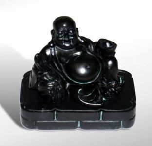 Black Resin Laughing Buddha Incense Cone Diffuser